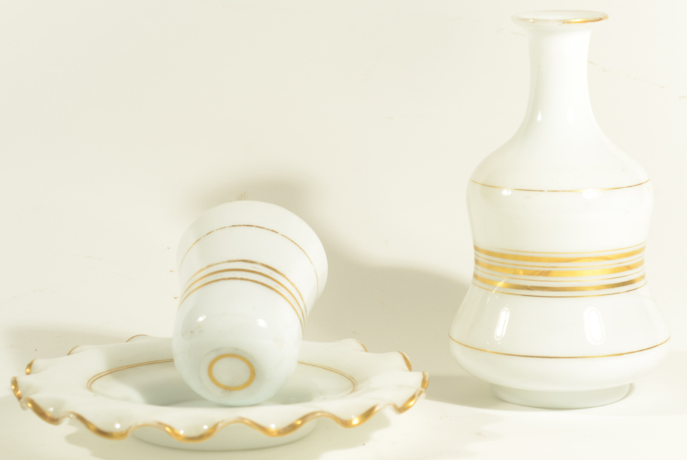 Opaline Drinking Set — Sets like these were designed to sit on a night stand, for drinking water
