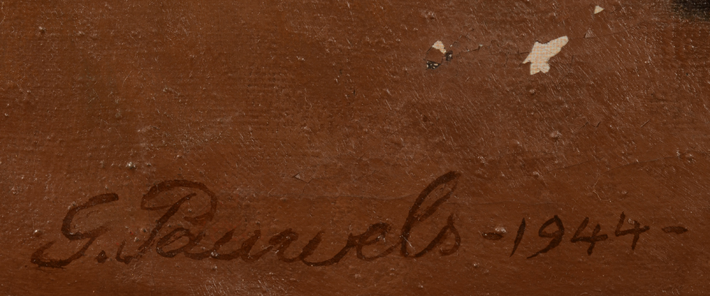 Gaston Pauwels — Signature of the artist and date, bottom left. Also showing some local flacking of the paint