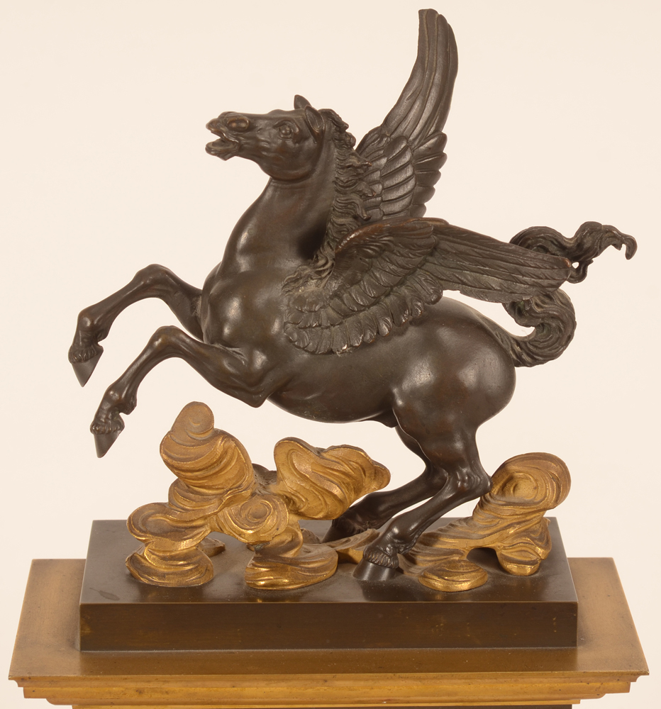 Charles X Pegasus clock — Detail of the bronze sculpture on top