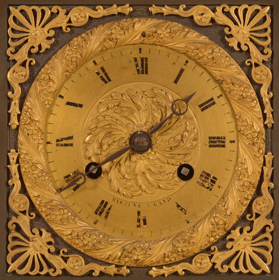 Charles X Pegasus clock — Detail of the gilt dial with Breguet hands