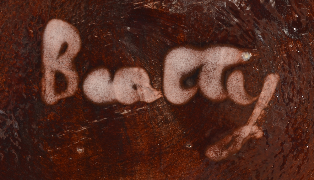 Beatty Permeke — Signature on the base of the brown bowl