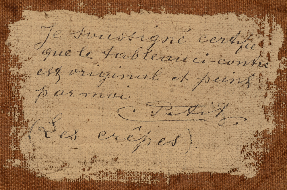 Corneille Petit — Certificate written by the artist, at the back of the canvas