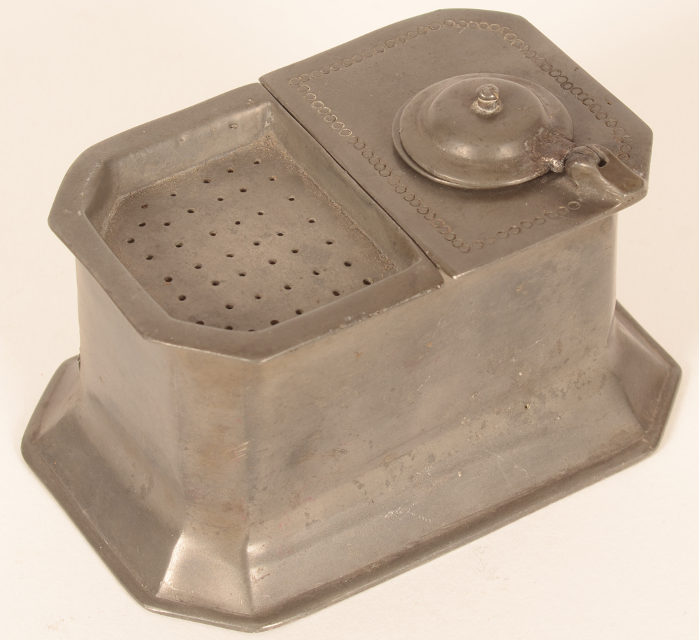 Pewter inkwell — side view