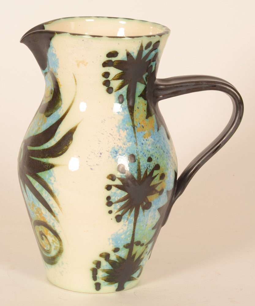 Ceramic Vallauris style balck phenix Pitcher — Side view with ear to the right