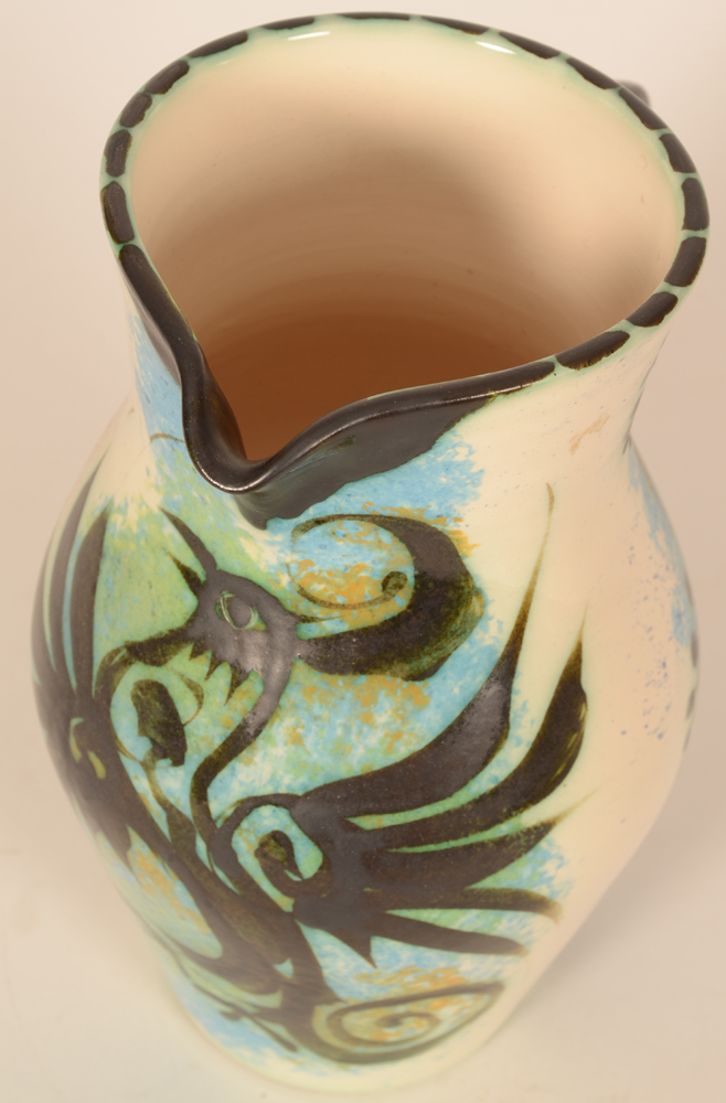 Ceramic Vallauris style black phenix pitcher — The spout and upper rim decorated in black
