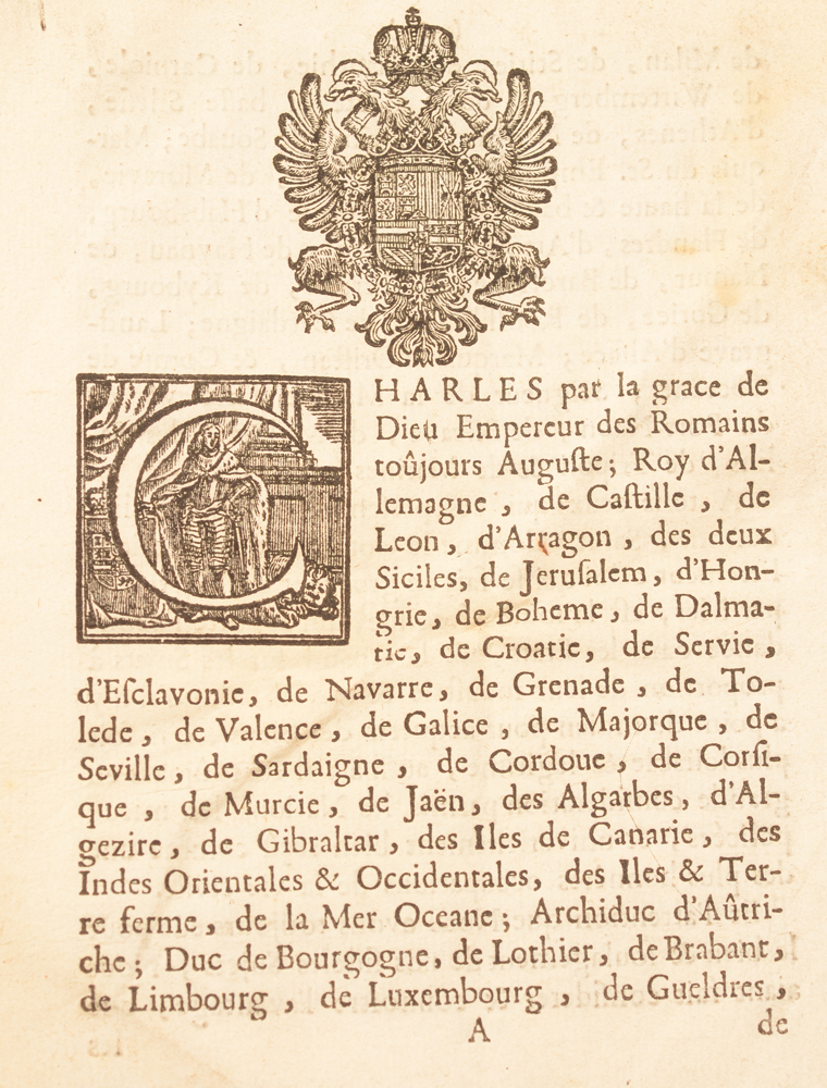 Placcart Bruxelles 1736 — 1st page page with woodcut initial