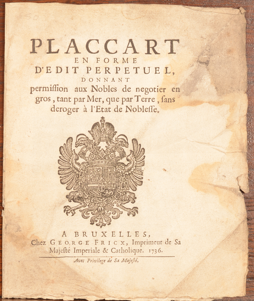 Placcart Bruxelles 1736 — cover of the document, showing the worn condition
