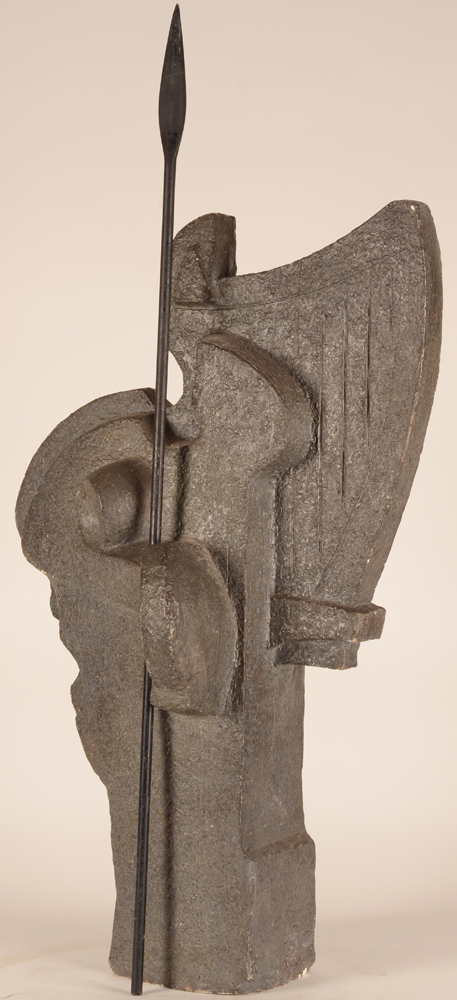 Emile Poetou — Side view of the sculpture in which the artist showed the complete figure together with the bust of the man!