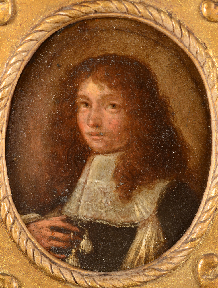 Portrait of a boy 17th century — Detail of the painting on metal