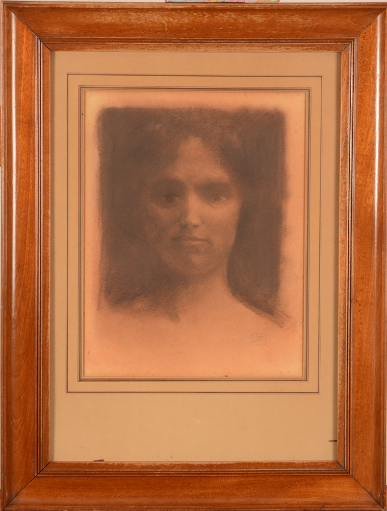 Armand Rassenfosse — The drawing in its probably original frame by Jean Dehoy of Brussels