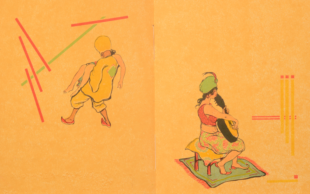 Armand Rassenfosse — An example of two of the illustrations en suite, on yellow paper, without the text.