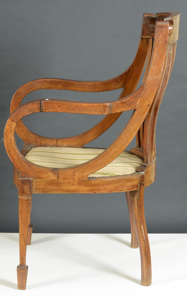 Regency armchair — Profile of the seat, showing the curved armrests