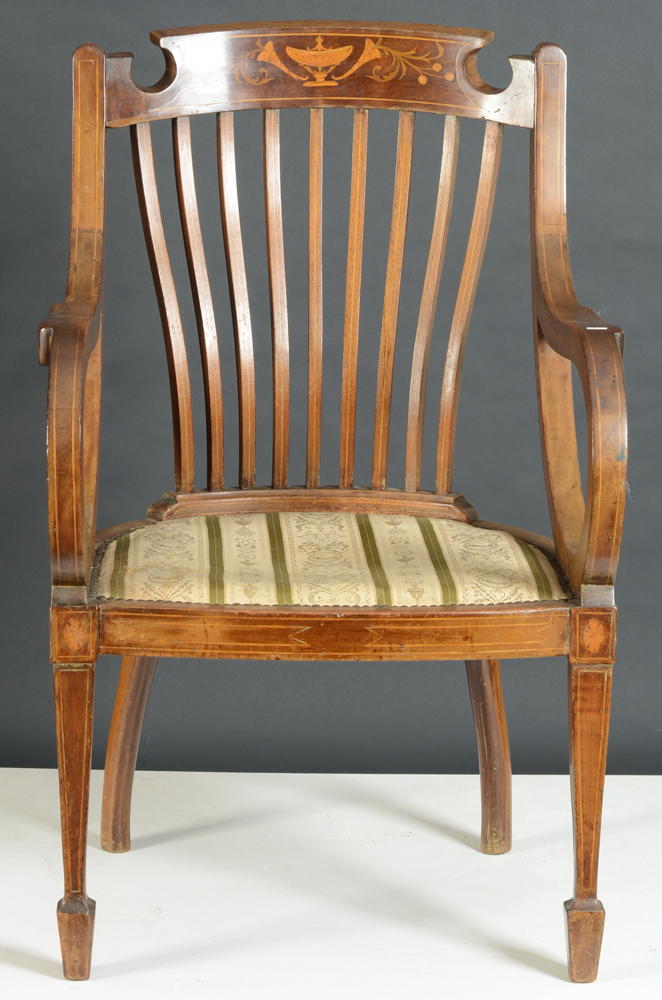Regency armchair — Frontal view of the mahogany chair