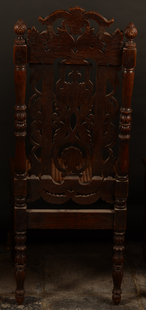 C. Reisse 1847 3 oak chairs — Back of a chair