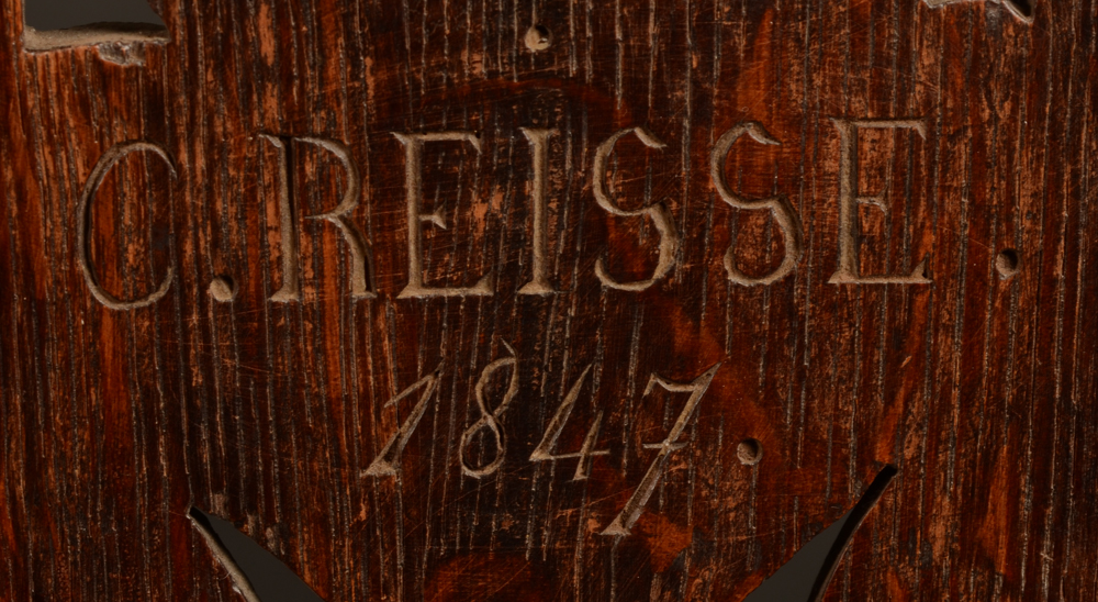 C. Reisse 1847 3 oak chairs — Signature on the back