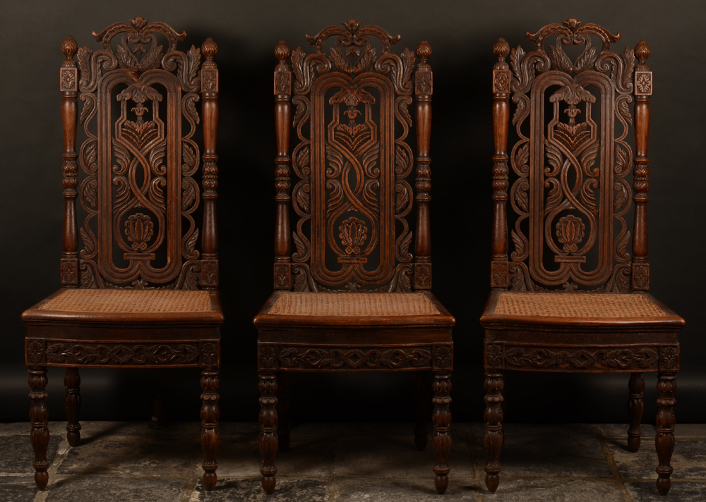 C. Reisse 1847 3 oak chairs — Set of 3 signed elaborately carved exotic chairs