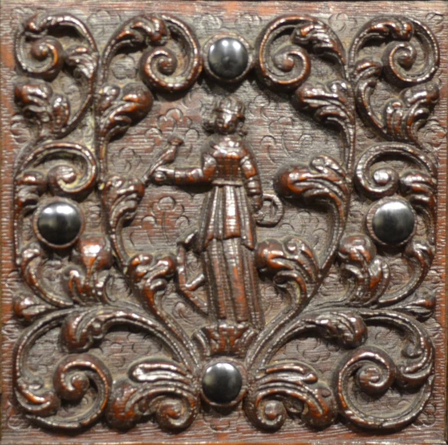 Dutch Renaissance cupboard — Detail of an allegorical figure on one of the doors