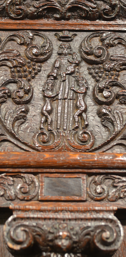 Dutch Renaissance cupboard — Detail of the top central figure, the allegorical depiction of Caritas