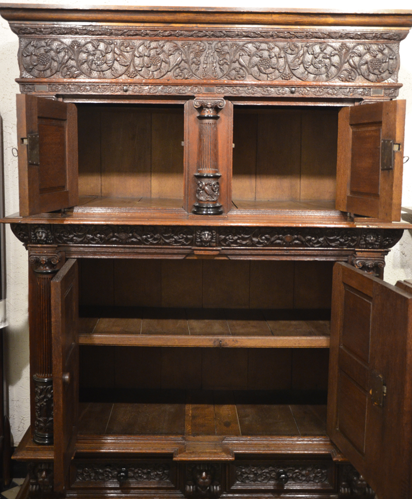 Dutch Renaissance cupboard — the cupboard with its doors open, two drawers in the base