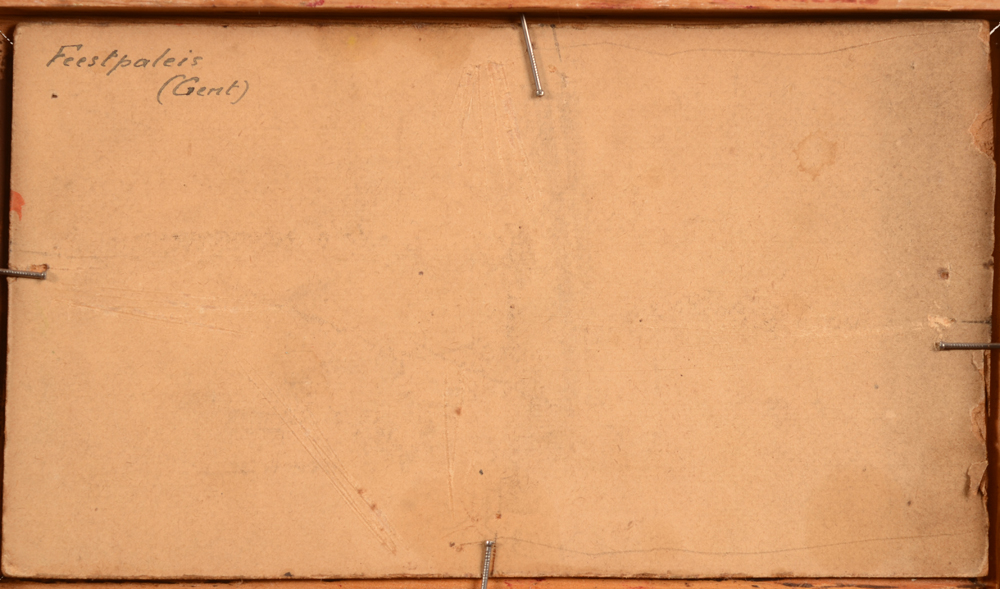 Gaston Restell — Back of the painting with the title in Dutch