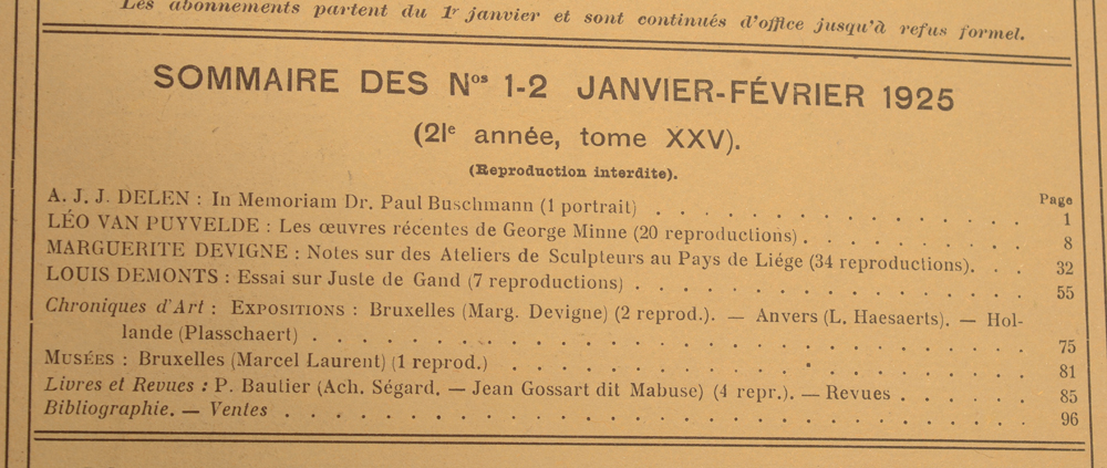 La Revue d'Art 1925 — January, table of contents