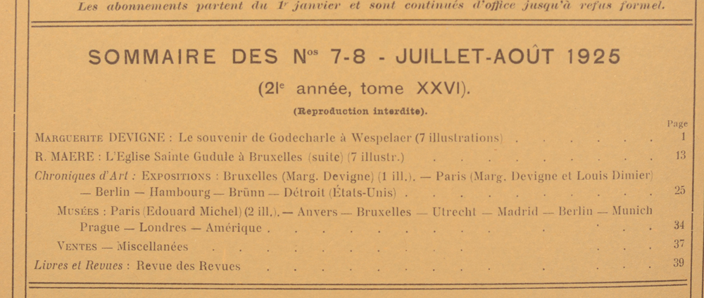 La Revue d'Art 1925 — Table of contents July-August<br>