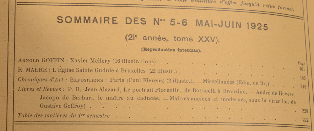La Revue d'Art 1925 — May table of contents