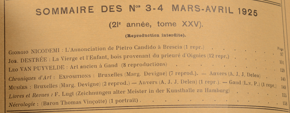 La Revue d'Art 1925 — March table of contents