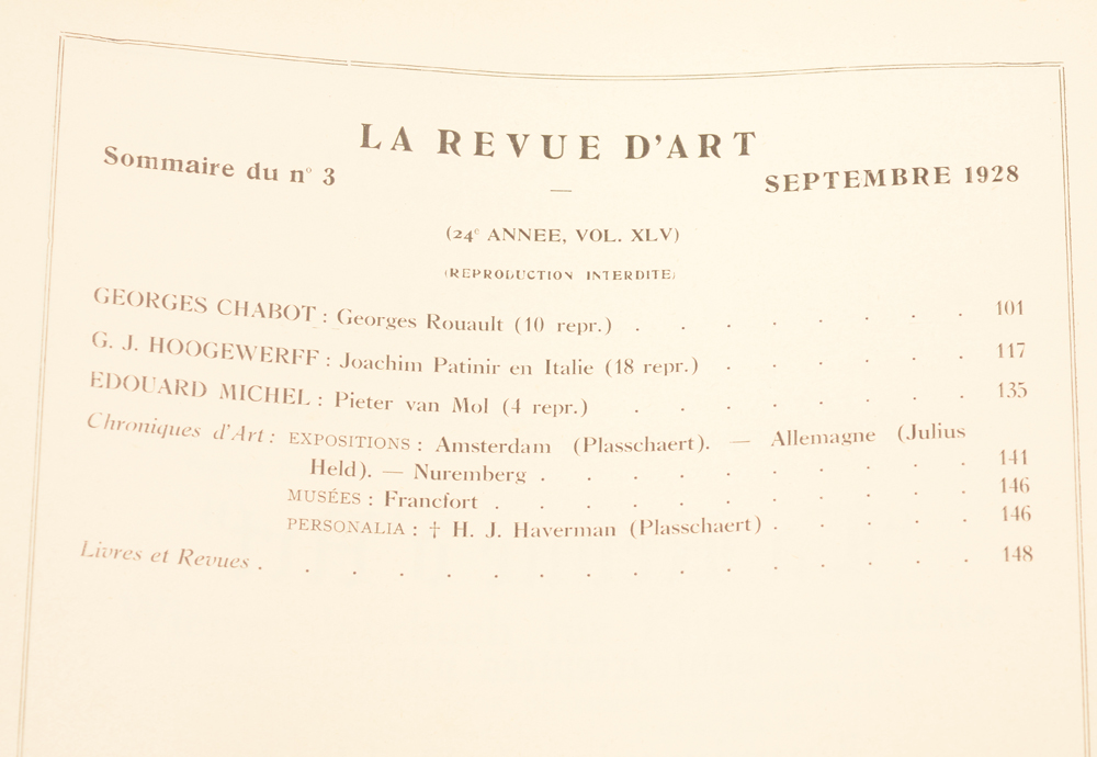 Revue d'Art 1928 — Table of contents September