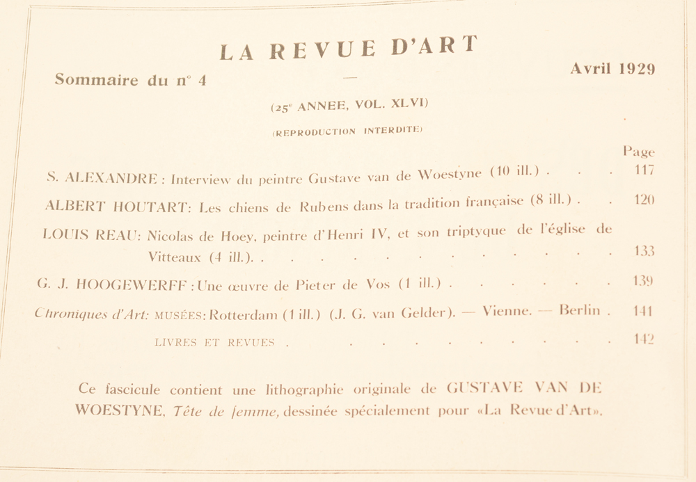 La Revue d'Art 1929 — Table of contents, this issue without the lithograph mentionned