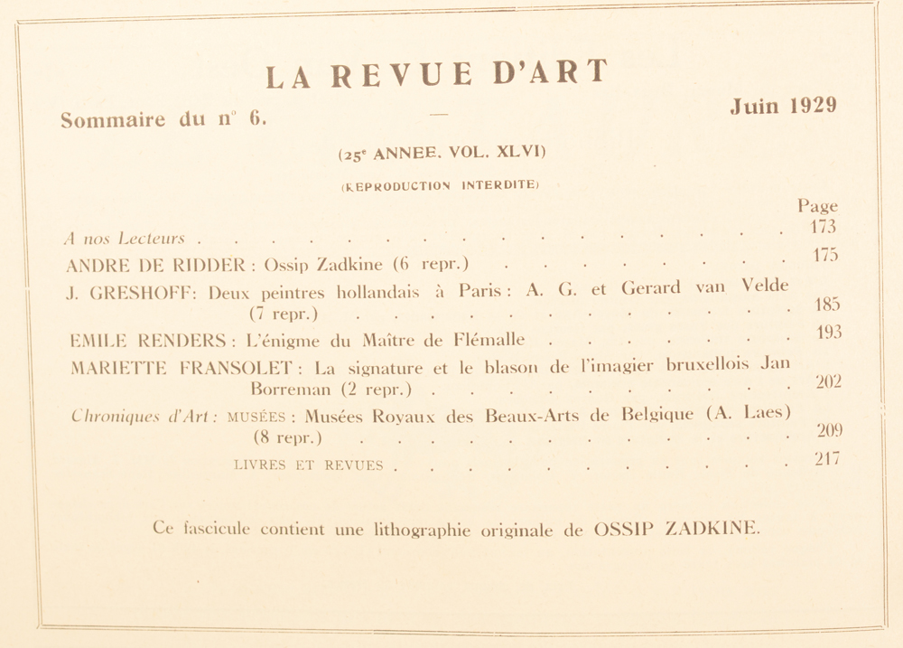 La Revue d'Art 1929 — Table of contents of the last number of this magazine