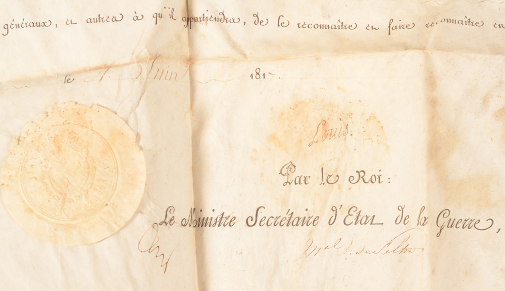 Louis XVIII — <p>Detail of the signatures, with the presumed autographed signature of Louis XVII</p>
