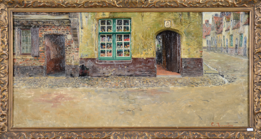 Emile Rommelaere — An unusual view of a street in Bruges.
