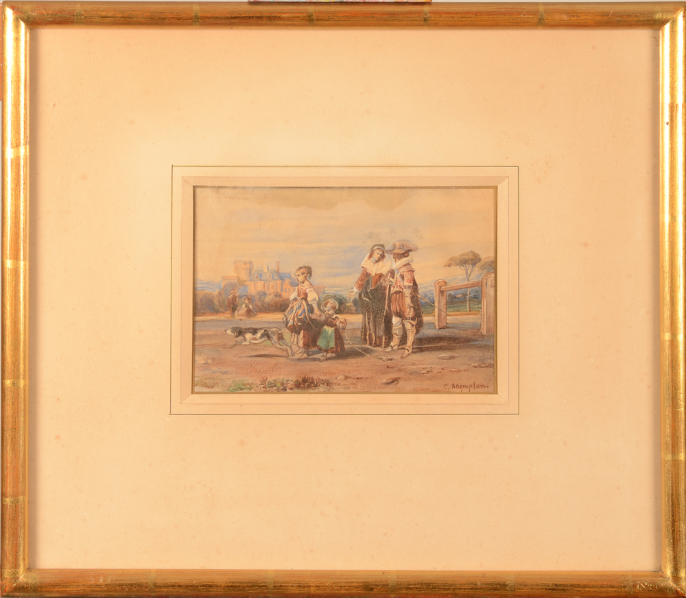 Camille Roqueplan — The watercolour in its 19th century frame
