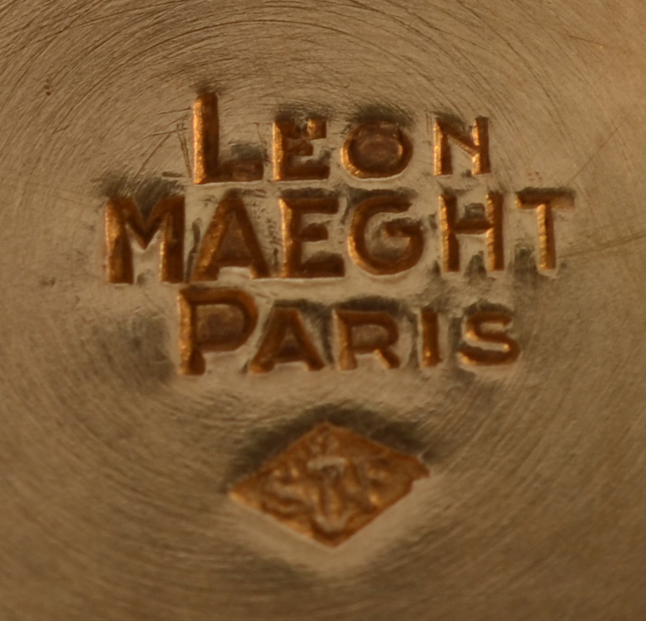 Léon Maeght — Both makers mark and retailers mark on the bottom of the base