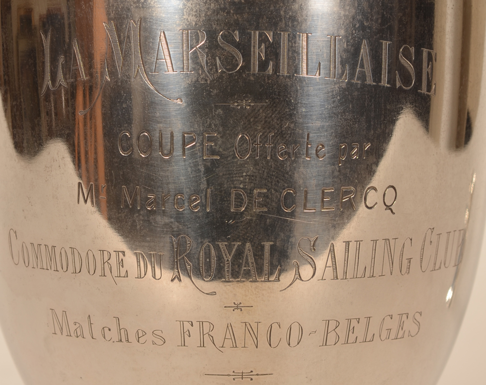 Silver sailing trophy La Marseillaise — Deatil of the engraving on the silver trophy