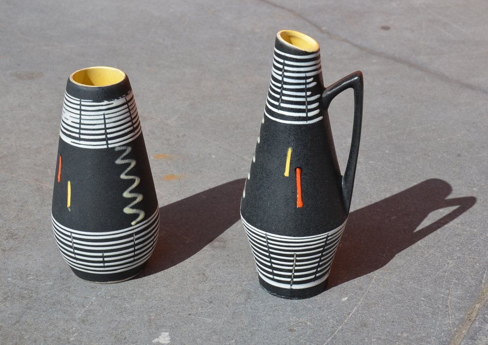 Scheurich — A set of two vases, same decoration, forms designed in 1959 and 1961.