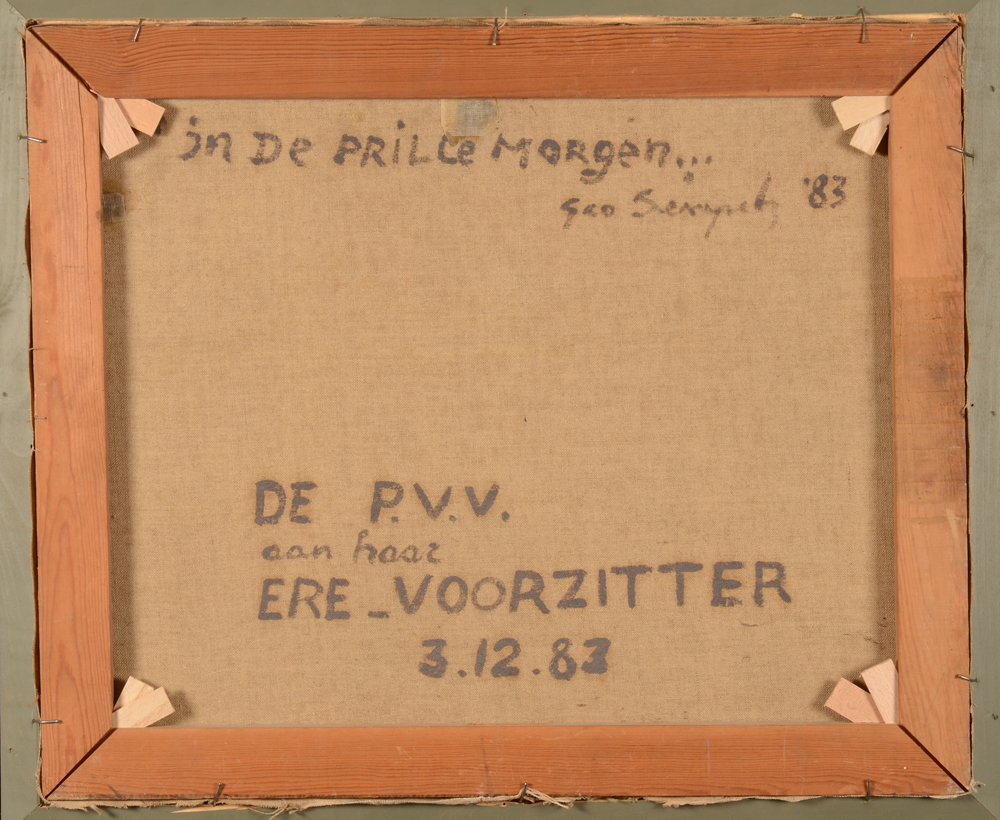 Geo Sempels — Back of the canvas, with title, signature and date and a dedication
