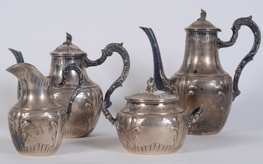 Coffee and tea service JDB — Silver, Belgian, ca. 1900-1910
