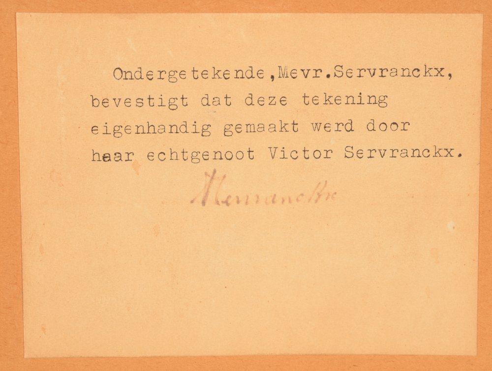 Victor Servranckx — Certificate of the wife of the artist at the back of the frame