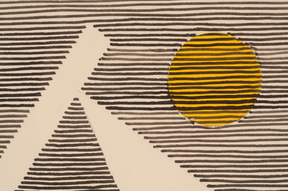 Michel Seuphor — <p>Detail of the drawing with collage of yellow circles</p>