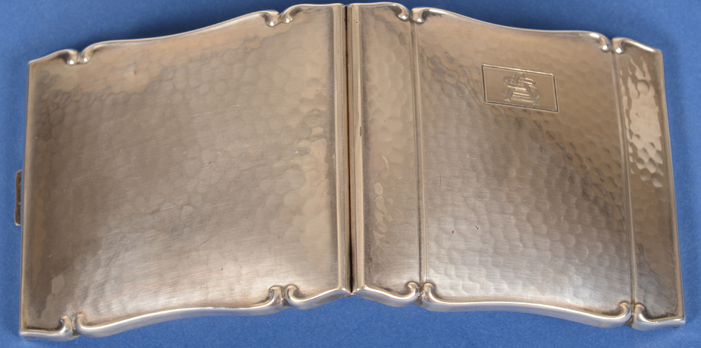 silver cigarette case AS — Back of the case