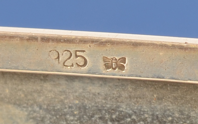 Gideon E. Bek — Alloy mark for sterling and makers mark (butterfly)