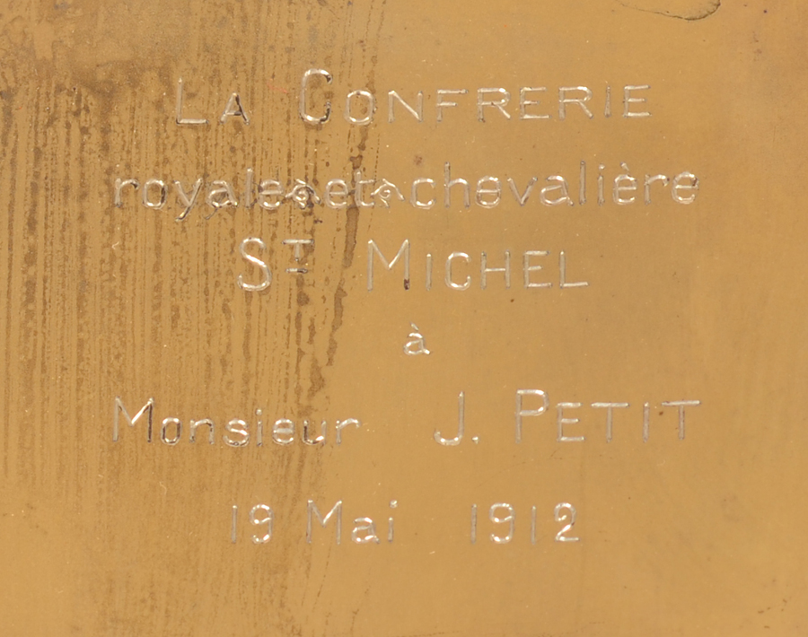 Silver cigarette case St-Michel — Inscription into the inside of the case