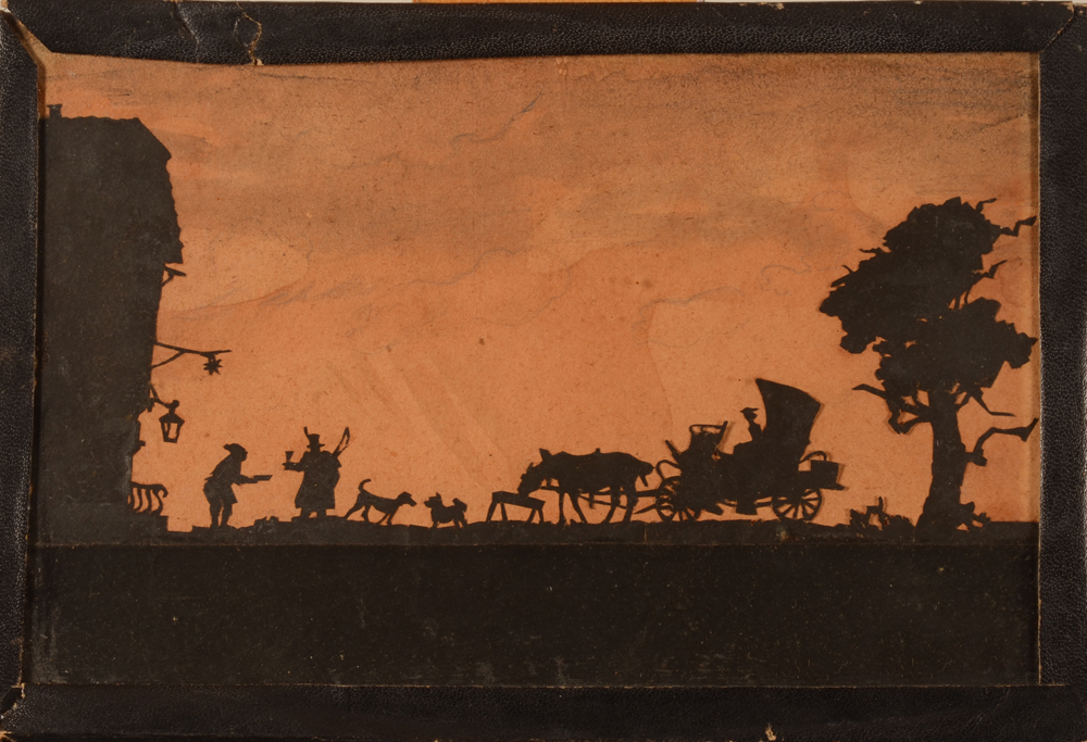 Silhouette cutting — collage en silhouette, ca. 1900?