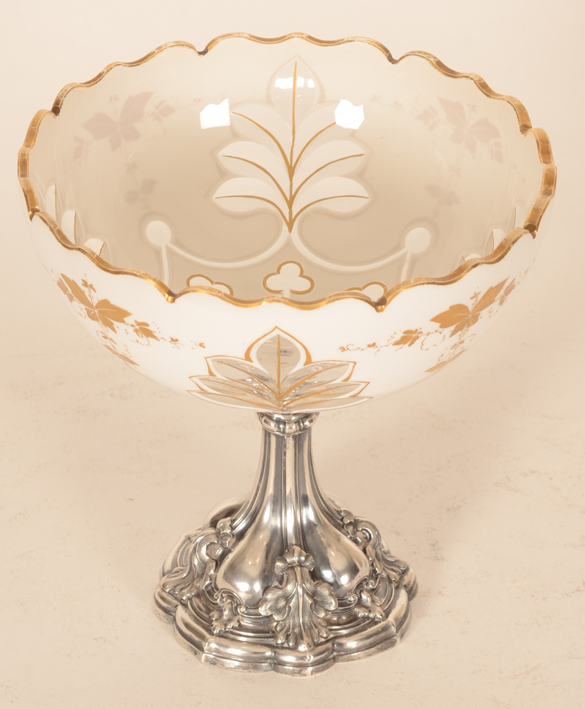 Austrian-Hungarian Opaline and silver cup