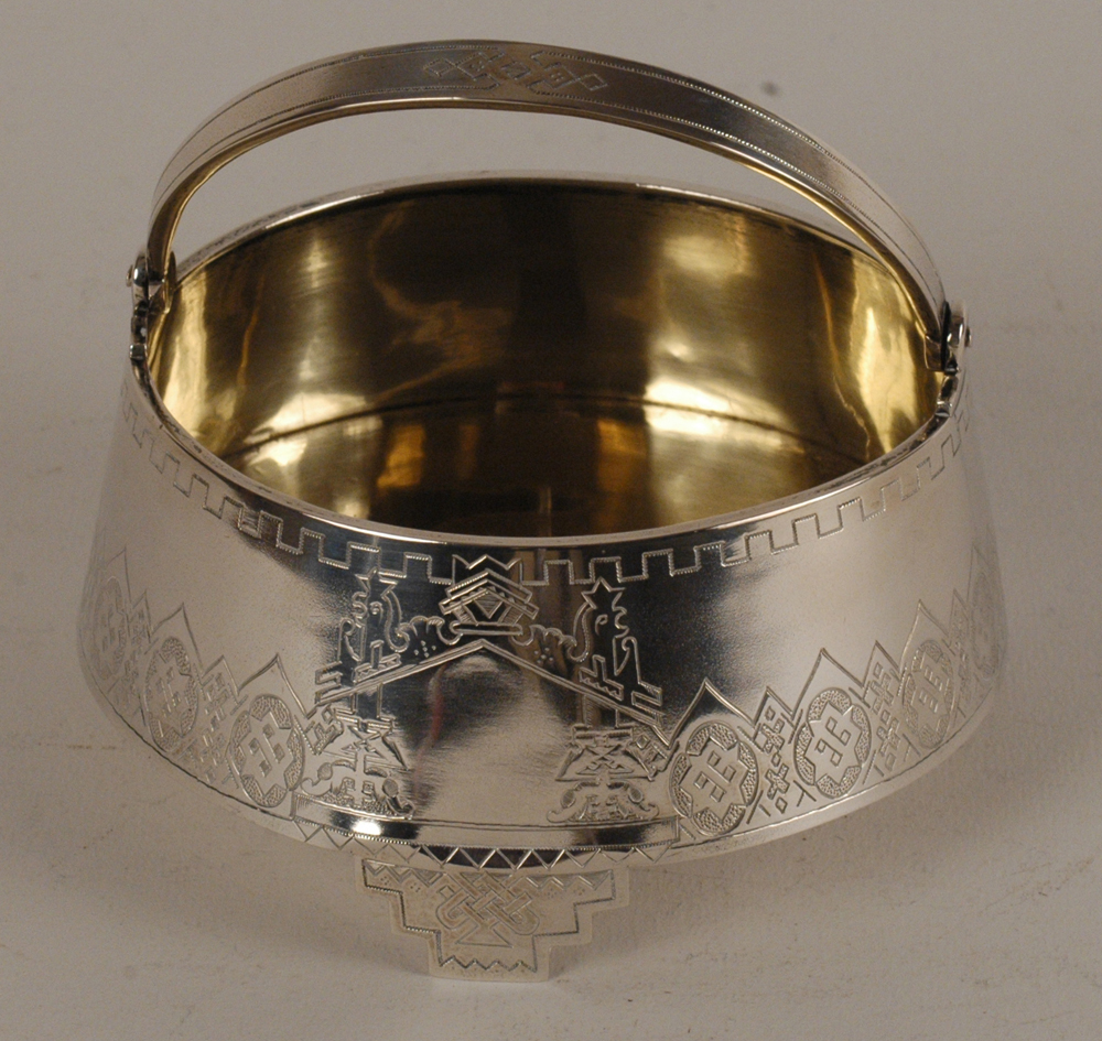 Russian silver sugar bowl — View of the back of the piece.