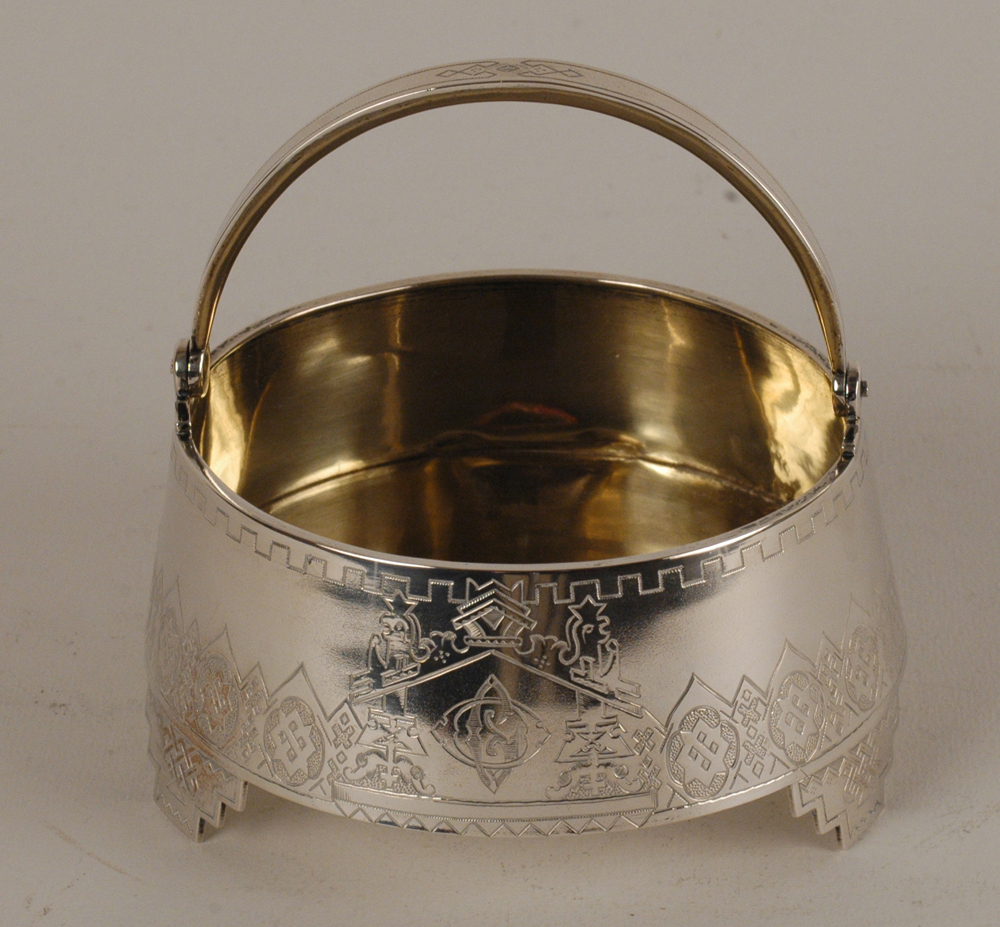 Russian silver sugar bowl — A silver sugar bowl with handle, the inside silver gilt.