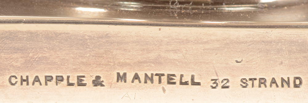 silver tureen London — Retail mark on the side of the base