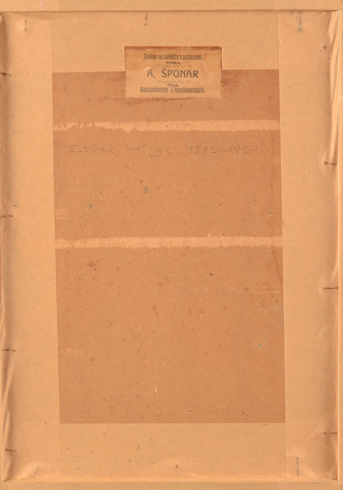 Milos Slovak — Back of the painting with an original label